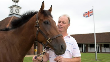 Trainer Mike Murphy with his Stewards' Cup hope, Discussion To Follow at his Manor Park Stud Farm in BedfordshireWestoning 21.7.14 Pic: Edward Whitaker