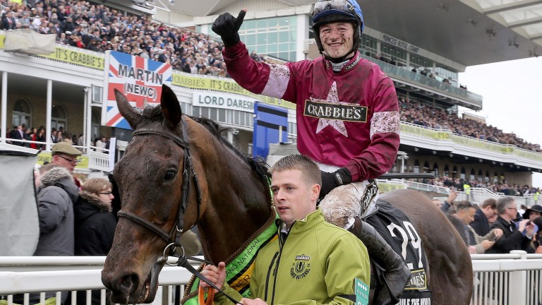 David Mullins celebrates after his Grand National success in 2016