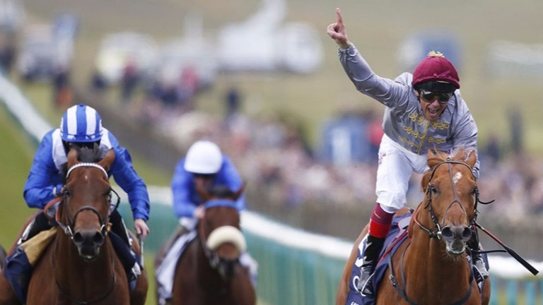 Galileo Gold (right) beats Massaat (left) to win the 2,000 Guineas