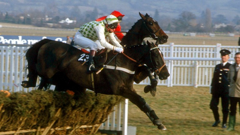 See You Then (nearside) and Steve Smith Eccles lead from Gaye Brief on their way to a second Champion Hurdle triumph in 1986