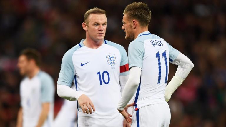 England captain Wayne Rooney & Leicester's Jamie Vardy