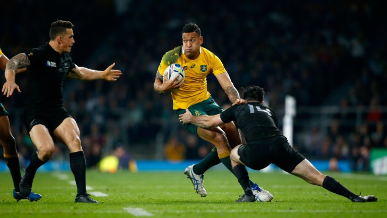 Israel Folau is a handful to defend against