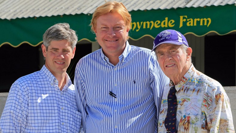 Romain Malhouitre flanked by Brutus Clay (left) and patriarch Catesby Clay at Keeneland