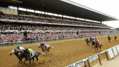 Now for the rematch: Creator (far side) touches off Destin to win the Belmont Stakes in front of the packed stands at Belmont Park