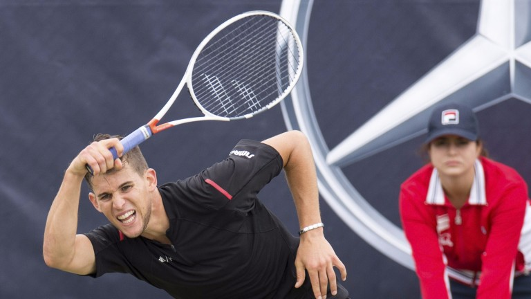 Dominic Thiem in action in Stuttgart