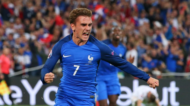 Antoine Griezmann celebrates scoring his goal against Albania
