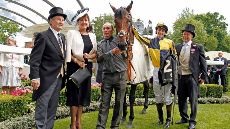 Owners Paul and Clare Rooney in the winner's enclosure with Adam Kirby and Clive Cox after My Dream Boat's victory in the Prince of Wales's Stakes in 2016