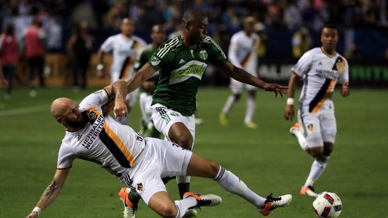 Portland Timbers striker Fanendo Adi stretches the LA Galaxy defence