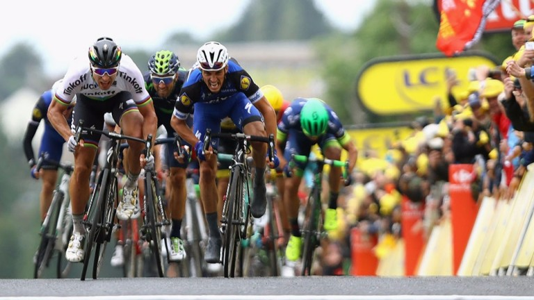 Peter Sagan (left) and Julian Alaphilippe sprint for the line