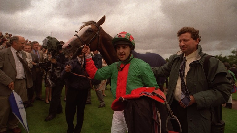 Mark Johnston with three-time Goodwood Cup winner Double Trigger