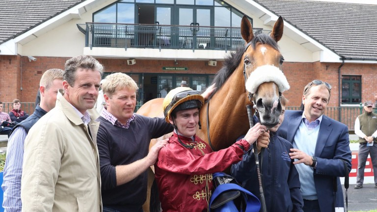 Gary Carroll celebrates Group-race success with Queen Catrine at Fairyhouse in July
