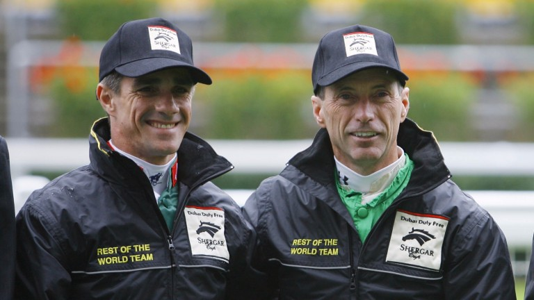 Jorge Ricardo (left) and Russell Baze, who met for the first time at the Shergar Cup at Ascot in 2009