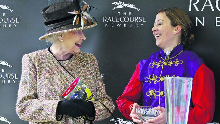 By royal assignment: Hayley Turner meets the Queen after carrying her colours to success at Newbury in April 2013