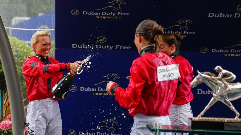 The girls team, (l-r) Sammy Jo Bell, Emma-Jayne Wilson and Hayley Turner, celebrate victory in last year's Shergar Cup