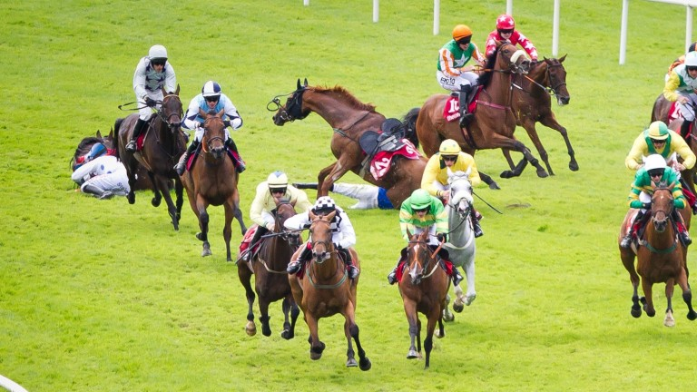 Our Kylie (green and yellow silks, white face) avoided trouble in the mares handicap hurdle last year