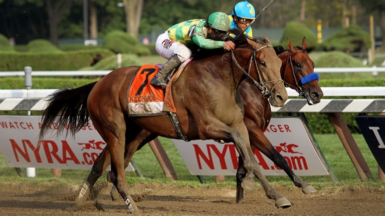 Keen Ice (near side): seeking another shock victory in Pegasus World Cup, having failed to score since beating Triple Crown hero American Pharoah in the Travers Stakes of 2015
