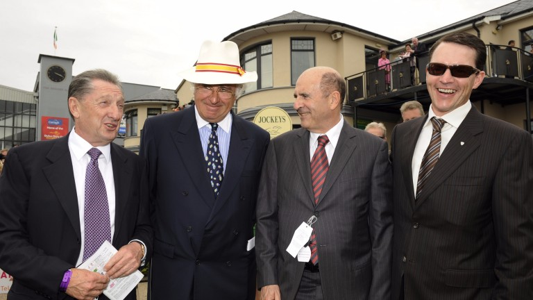 Members of team Coolmore - Derrick Smith, John Magnier and Michael Tabor - with trainer Aidan O'Brien