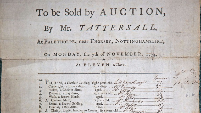 An early catalogue for a sale conducted by Tattersalls