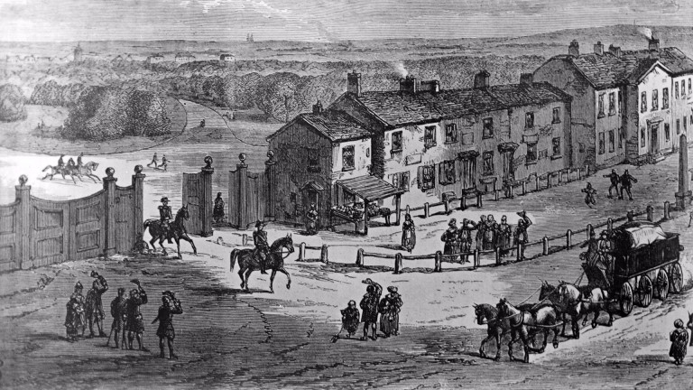 Hyde Park Corner in the mid 18th century - scene of early Tattersalls sales