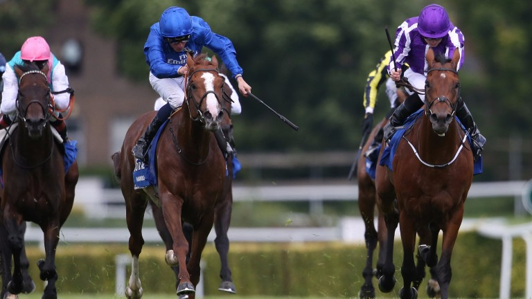 Hawkbill (left) beating The Gurkha in the Coral-Eclipse