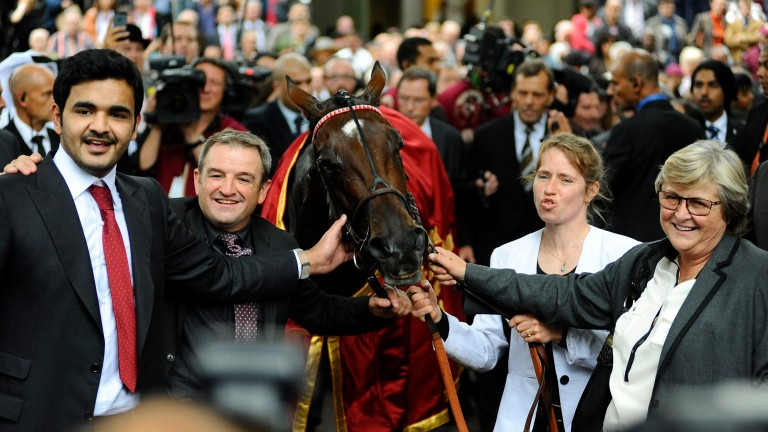 Happier times: Sheikh Joaan Al Thani (left) and Criquette Head-Maarek (right) after Treve's first Arc triumph