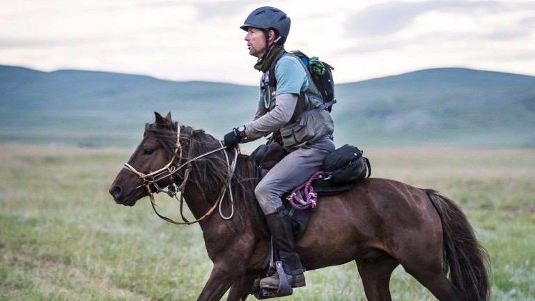 David Redvers in action during the Mongol Derby which he completed on Thursday