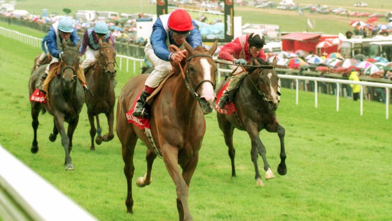 First Classic winner: Frankie Dettori partners Balanchine to victory in the Oaks at Epsom in 1994