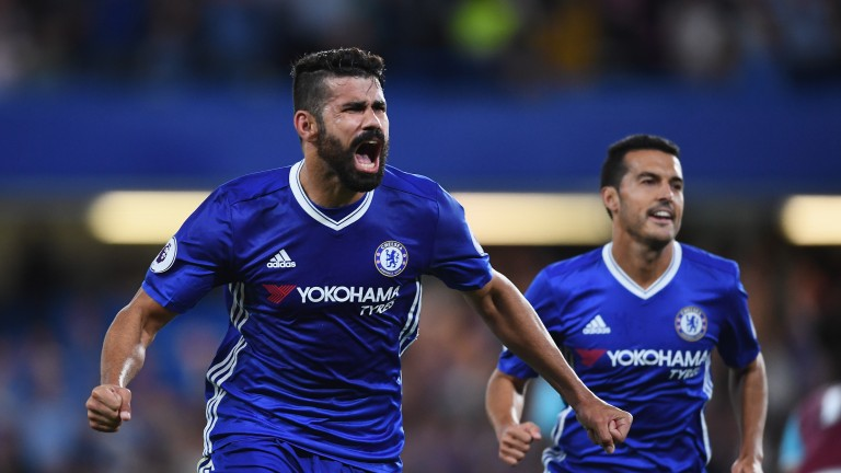 Diego Costa leads the scoring charts with 13 Premier League goals