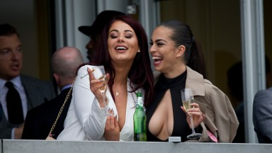 Jessica Hayes (left) and Katie Salmon at Cheltenham on Champion Hurdle day