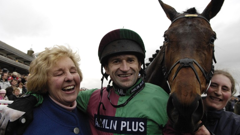 Andrew Thornton with Sally Alner and Miko De Beauchene after winning the Welsh National