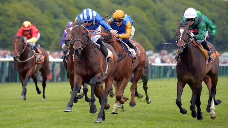 A big moment for Adaay (striped cap) as a stallion at Deauville