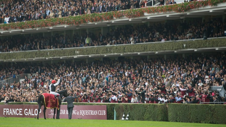 Frankie Dettori receives the acclaim of the Longchamp stands after Golden Horn's Arc last October