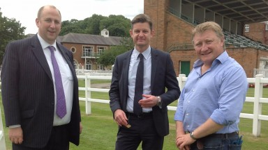 BHA head of raceday operations Brant Dunshea (centre) with BHA chief executive Nick Rust (left) and clerk of the course James Sanderson at Thirsk, which will be remeasured with the rest of Britain's Flat courses