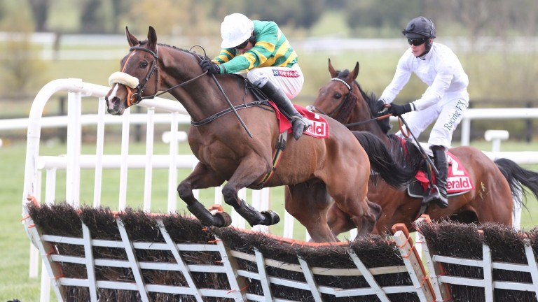 PUNCHESTOWN TUES 26 APRIL 2016  PICTURE: CAROLINE NORRIS  DON'T TOUCH IT RIDDEN BY BARRY GERAGHTY JUMPING THE LAST TO WIN THE HERALD CHAMPION NOVICE HURDLE FROM BRAIN POWER RIDDEN BY DAVID MULLINS