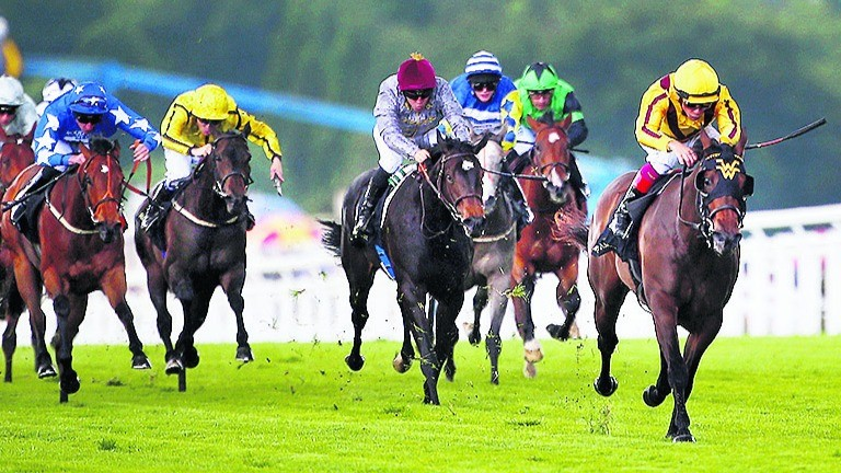 ASCOT, ENGLAND - JUNE 15:  Frankie Dettori riding Lady Aurelia leads the field home to win the Queen Mary Stakes on day 2 of Royal Ascot at Ascot Racecourse on June 15, 2016 in Ascot, England.  (Photo by Charlie Crowhurst/Getty Images for Ascot Racecourse