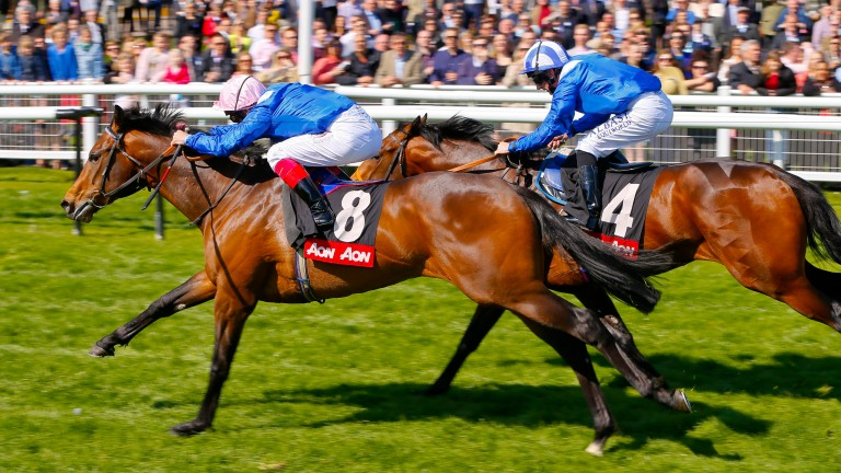 Muhaarar breaks the 7f course record in the Greenham Stakes at Newbury with Estidhkaar a neck second