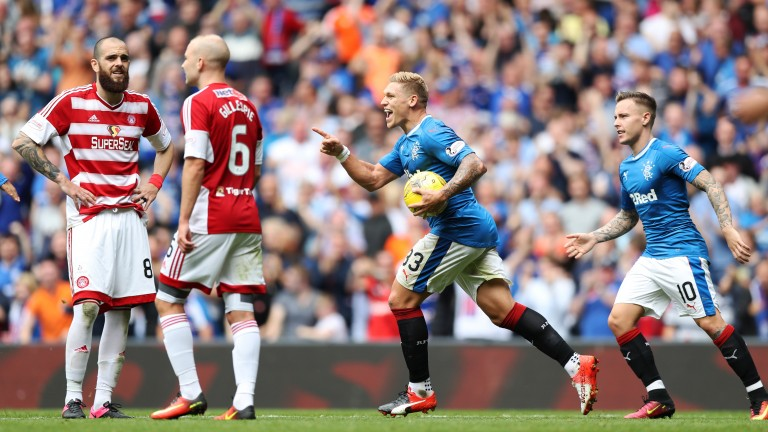 Martyn Waghorn (ball) celebrates a goal for Rangers against Hamilton