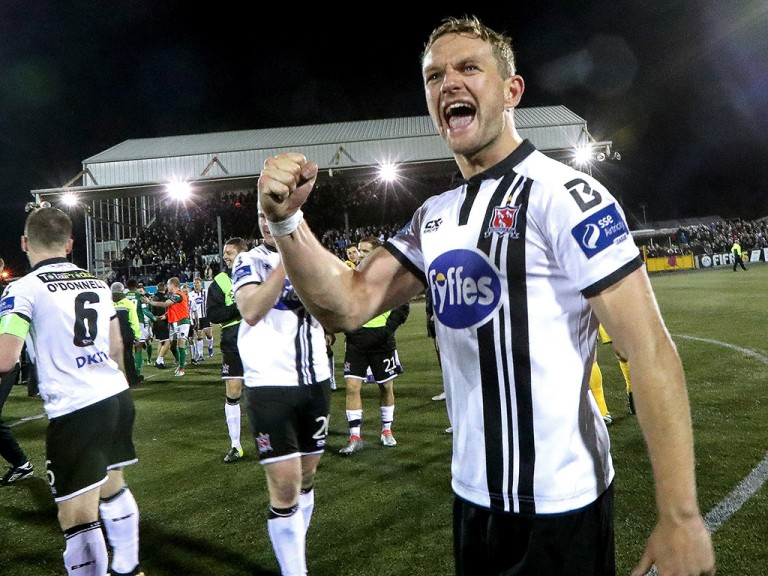 Dane Massey celebrates a Dundalk win