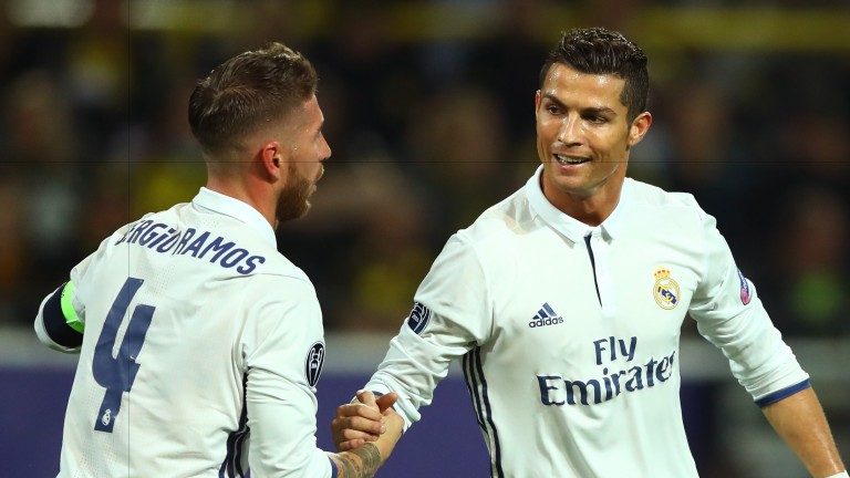 Sergio Ramos and Cristiano Ronaldo of Real Madrid