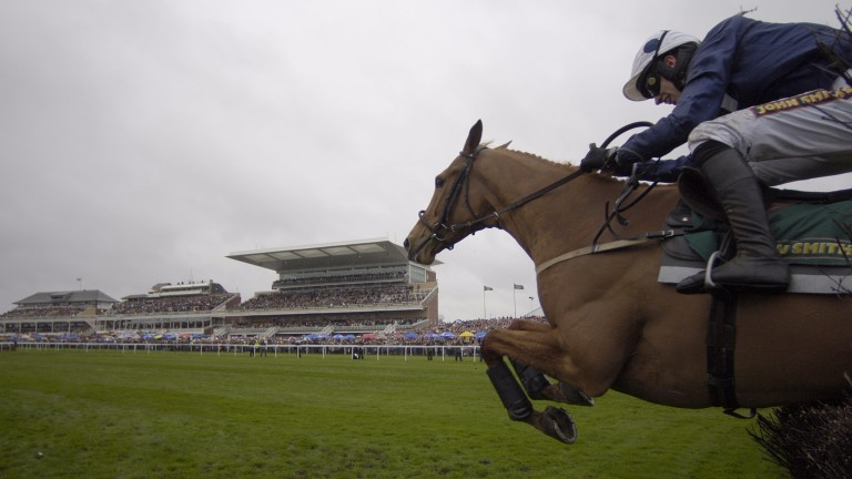 Front-running and flamboyant: Ashley Brook takes Paddy Brennan to his first Grade 1 success in the Maghull Novices' Chase at Aintree in 2005