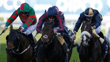 Tom Queally and the Tin Man (centre) en route to winning the British Champions Sprint