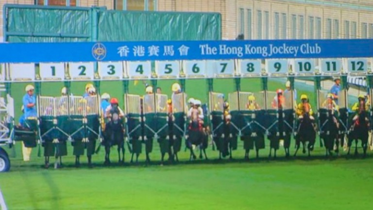 An errant rake prevented the progress of several runners at Happy Valley