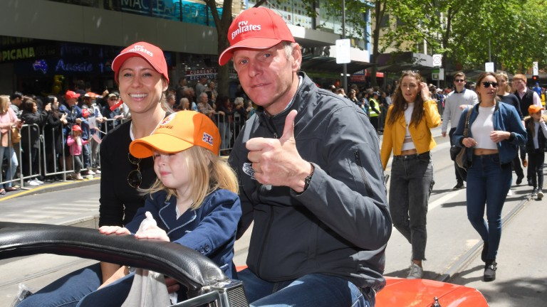 Big Orange's trainer Michael Bell enjoys the pre-race parade in Melbourne