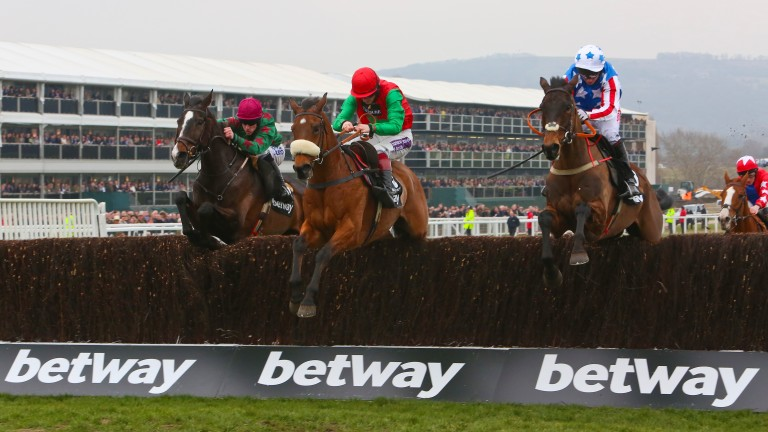 Dodging Bullets (centre) was an important horse for Twiston-Davies and Nicholls when the pair began their relationship