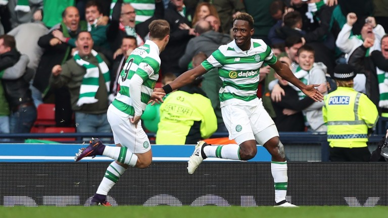 Celtic pair Moussa Dembele and Leigh Griffiths celebrate a goal