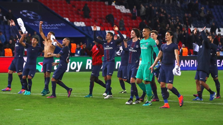 PSG celebrate their victory over Basel