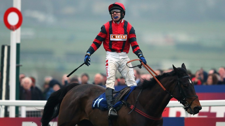 Family success: Tom Scudamore celebrates after riding Next Sensation, trained by his brother Michael, to win the Grand Annual in 2015