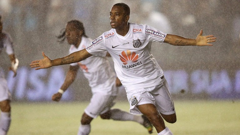 Atletico Mineiro's Robinho celebrates a goal for former side Santos against Cruzeiro