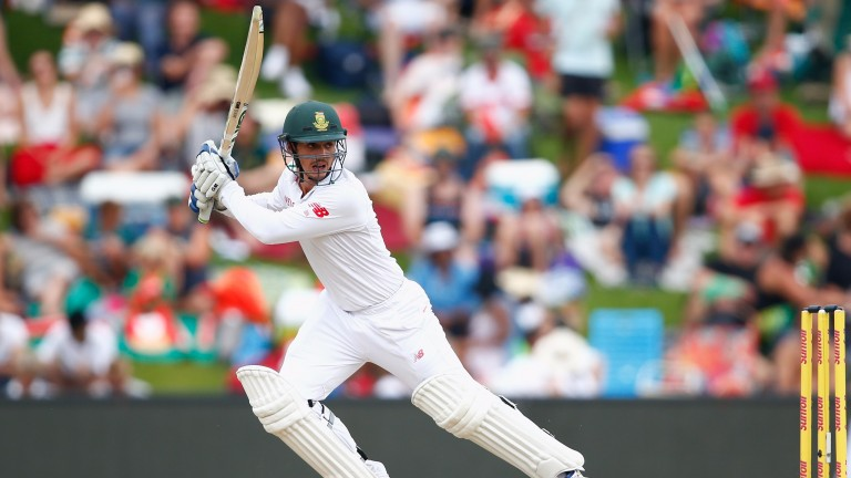 Quinton de Kock drives during his Test century against England