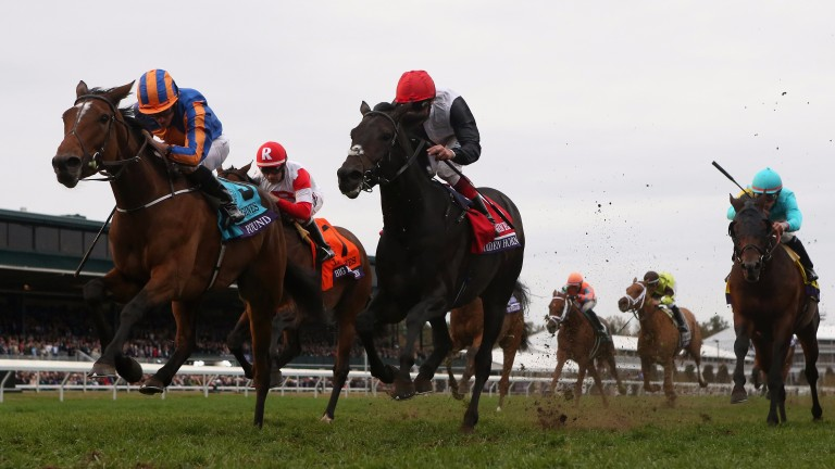 Found (left) beats Golden Horn (centre) in last year's Breeders' Cup Turf